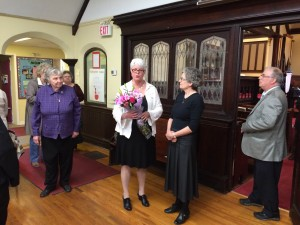 At the reception following the Recognition service,  Rev Cathy was welcomed with a beautiful bouquet of flowers!